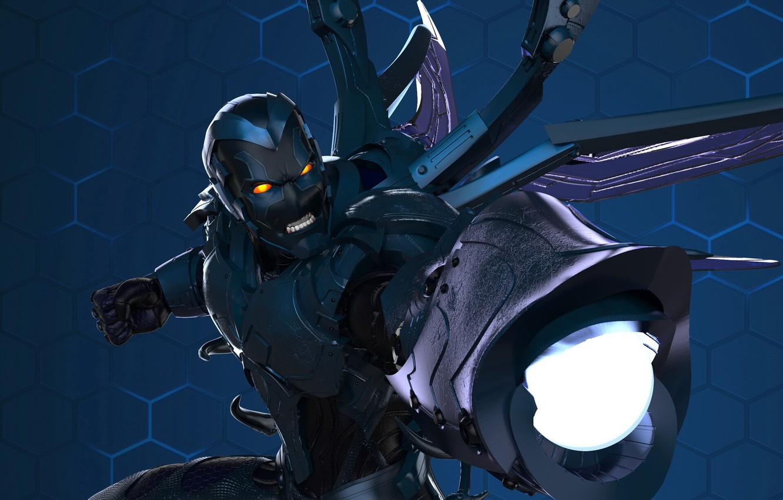 Photo wallpaper costume, gun, DC Comics, scarab, Blue Beetle, blue beetle, teen titans, young Titan
