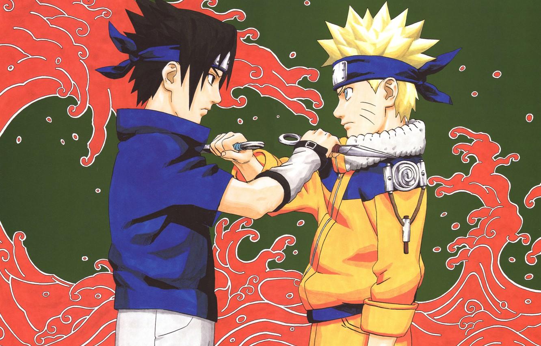 Photo wallpaper the opposition, Naruto, Naruto, Sasuke Uchiha, Uzumaki Naruto, kunai