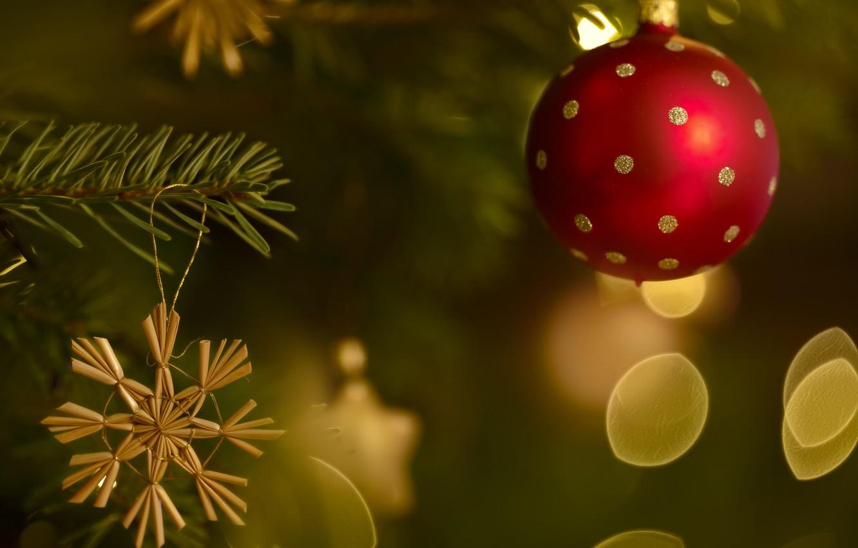 Photo wallpaper glare, ball, Christmas, New year, snowflake