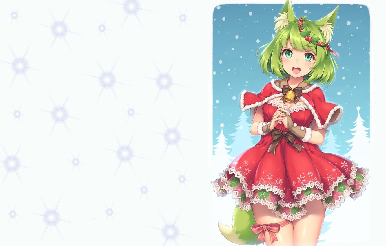 Photo wallpaper anime, art, New year, maiden, Fox, bell, bow, wreath, ears, ponytail, garter, suit