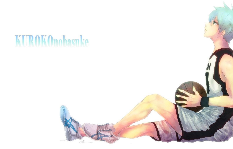 Photo wallpaper the ball, white background, guy, sitting, sneakers, blue hair, looking up, sports uniforms, Kuroko Tetsuya, ...