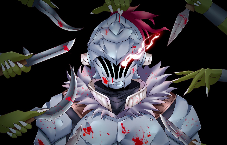 Photo wallpaper blood, armor, hands, helmet, knives, knight, Goblin Slayer