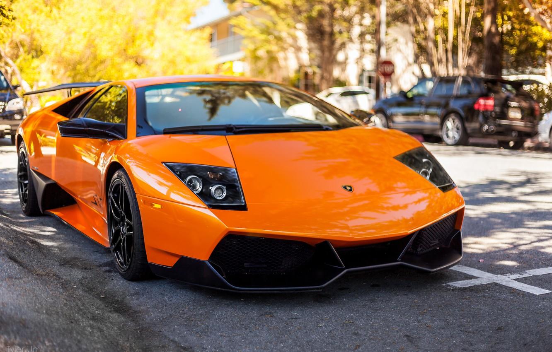 Photo wallpaper Lamborghini, Murcielago, front, orange, LP 670-4