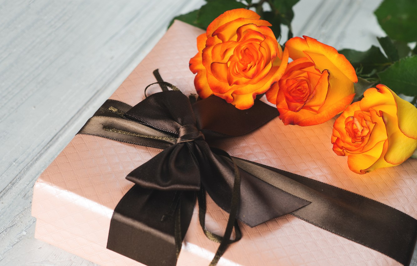 Photo wallpaper holiday, gift, roses, Mother's day