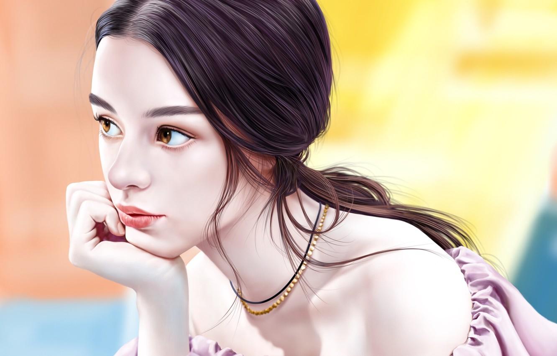 Photo wallpaper look, girl, art, Jinsung Lim