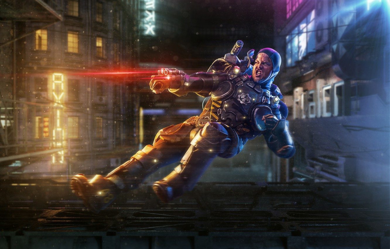 Photo wallpaper the city, weapons, man, laser
