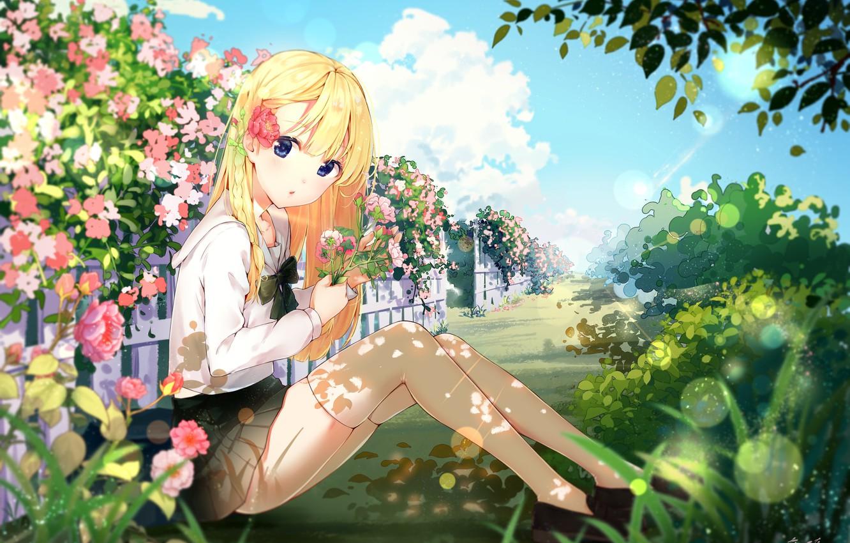 Photo wallpaper Flowers, Girl, Meadow, yinchi