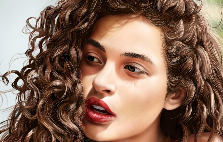 Photo wallpaper look, girl, face, hair, Jinsung Lim