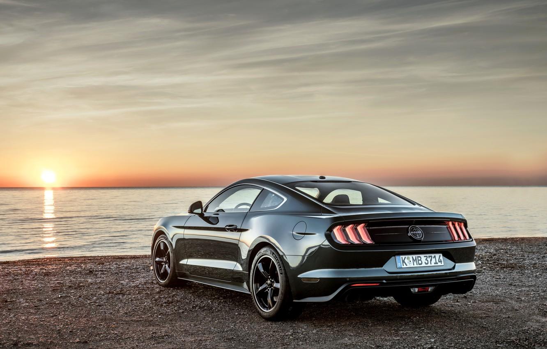Photo wallpaper Mustang, Ford, the evening, pond, 2018, Bullitt, fastback