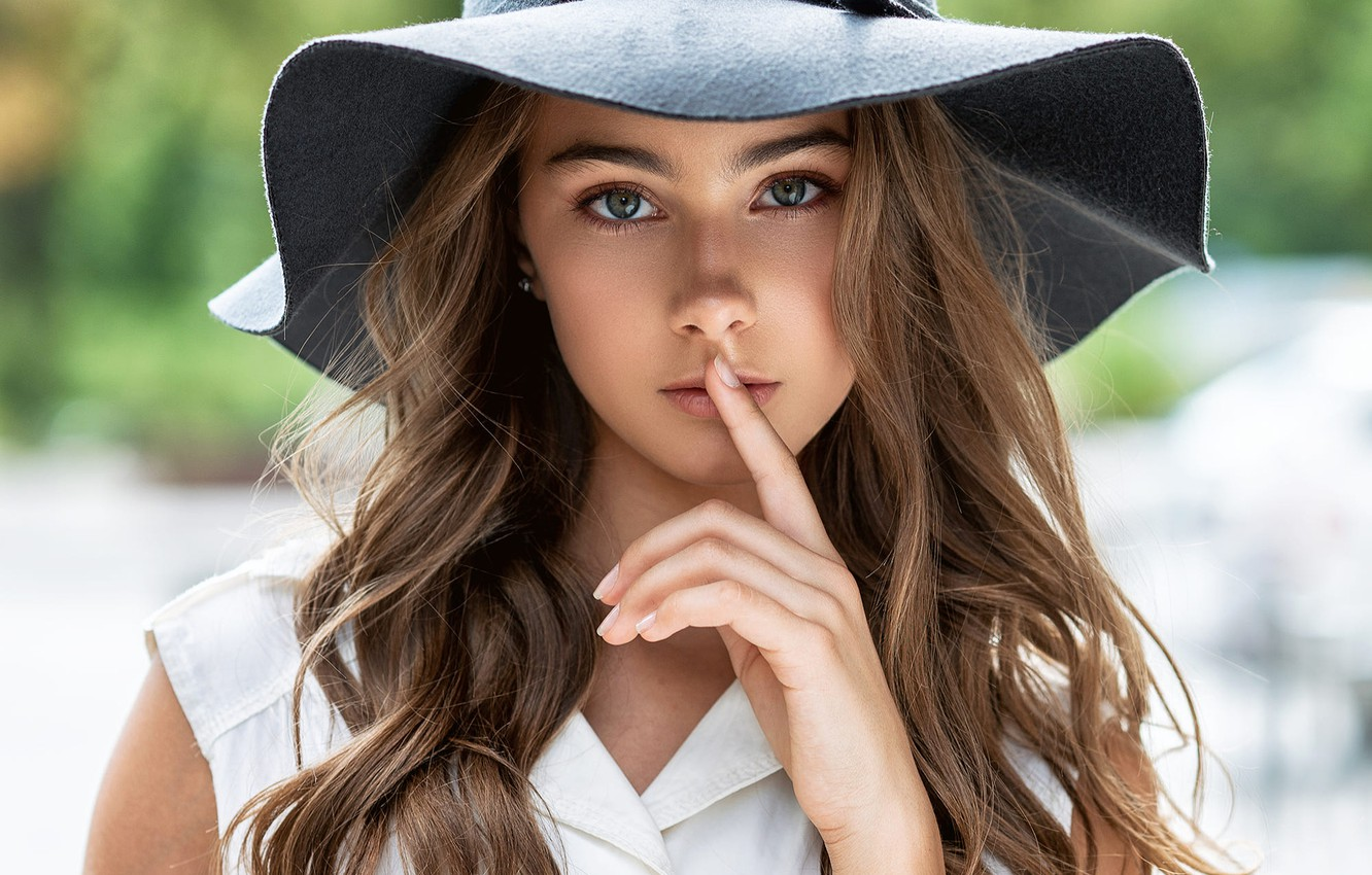 Photo wallpaper look, pose, model, portrait, hat, makeup, hairstyle, finger, lips, shirt, brown hair, beauty, is, in …