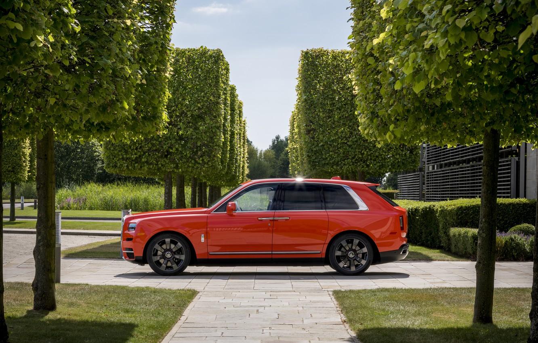 Wallpaper Rolls Royce Side View 2019 Cullinan Fux Orange