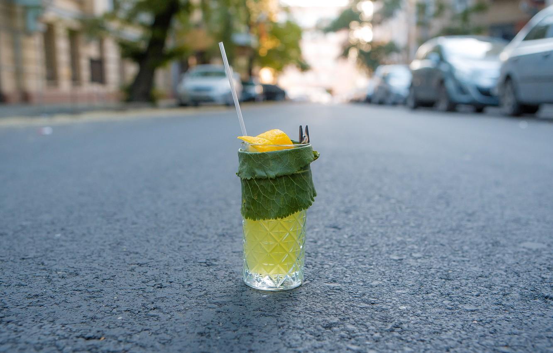 Photo wallpaper road, greens, cocktail