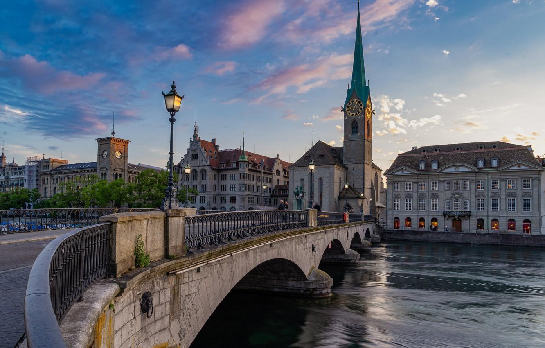 Photo wallpaper sunset, bridge, the city, river, building, tower, home, the evening, Switzerland, lights, Church, spire, Zurich, …
