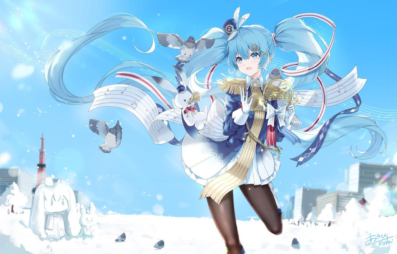 Photo wallpaper girl, pigeons, Hatsune Miku, Vocaloid, Vocaloid, Hatsune Miku