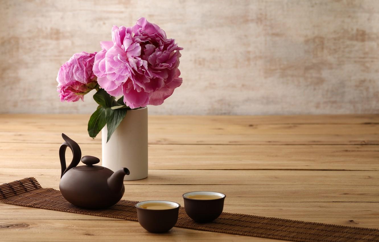 Photo wallpaper minimalism, kettle, Cup, peony