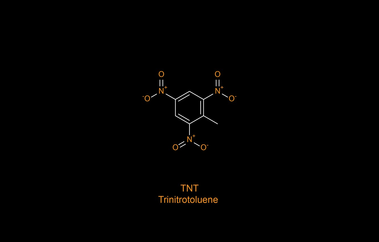 Photo wallpaper minimalism, oxygen, chemistry, black background, science, simple background, TNT, nitrogen, chemical structures, Trinitrotoluene