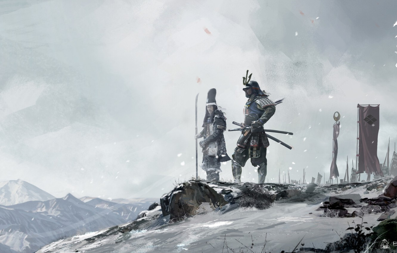 Photo wallpaper winter, snow, Asia, Japan, warriors, samurai, warlords, David Benzal, asia legends