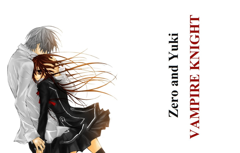 Photo wallpaper long hair, art, hug, students, vampire knight, yuuki cross, knight-vampire, white shirt, matsuri hino, zero …