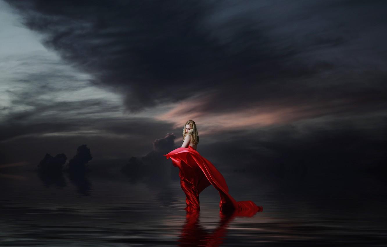 Photo wallpaper the sky, girl, night, clouds, mood, treatment, art, blonde, red dress, pond, hem, bad weather, …