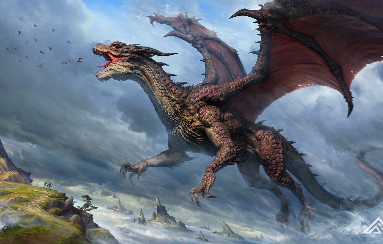 Photo wallpaper the sky, people, rocks, dragon, wings, power, fantasy, art, mouth, art