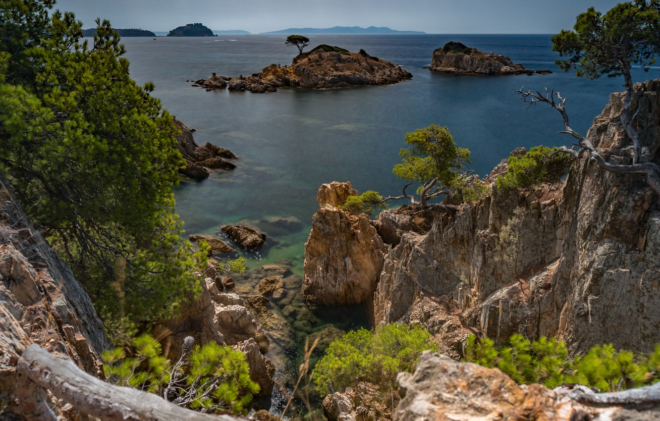 Photo wallpaper sea, trees, landscape, nature, rocks, France