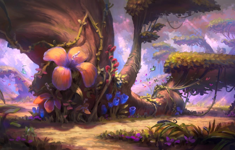Photo wallpaper butterfly, flowers, nature, tree, art, illustration