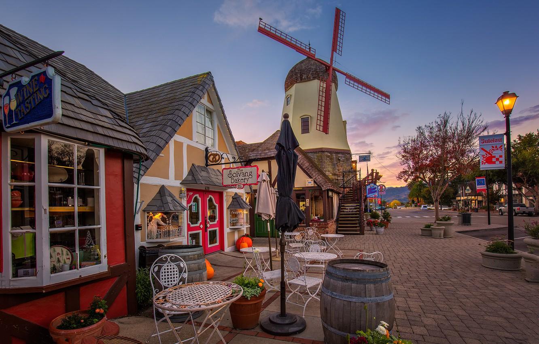 Photo wallpaper CA, USA, windmill, Solvang