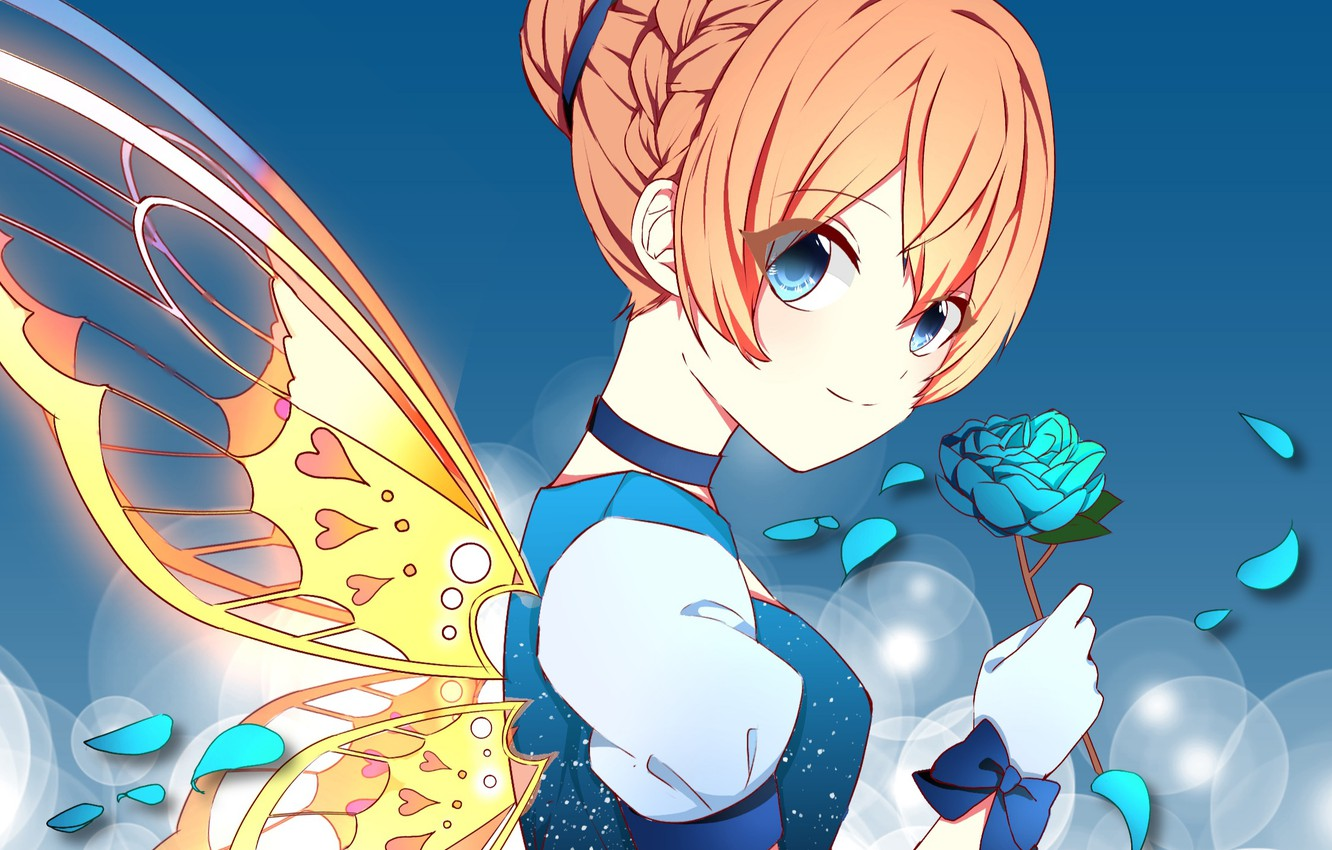 Photo wallpaper look, girl, butterfly, fairy, by 萌
