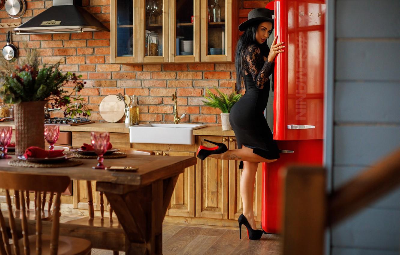 Photo wallpaper Girl, hat, dress, kitchen, Alexander Semania, Anna Levchenko