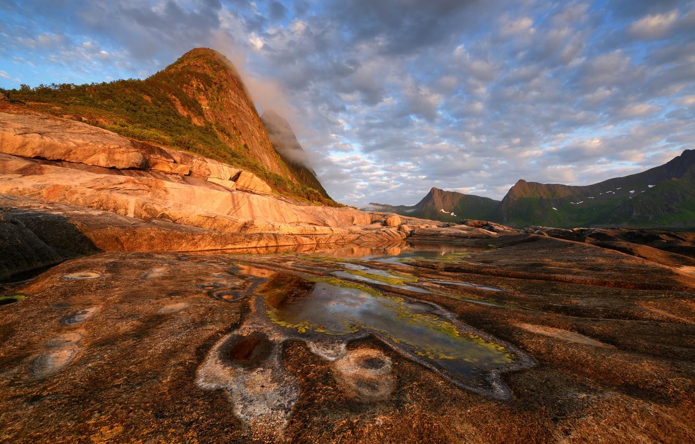 Photo wallpaper clouds, mountains, island, Norway, Senja, Maxim Evdokimov