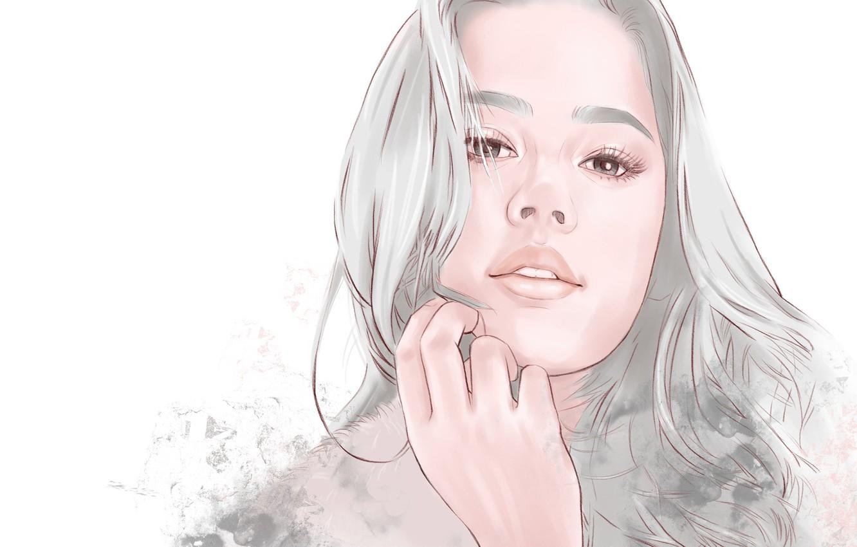 Photo wallpaper Girl, long hair, art, face, artwork, portrait, simple background