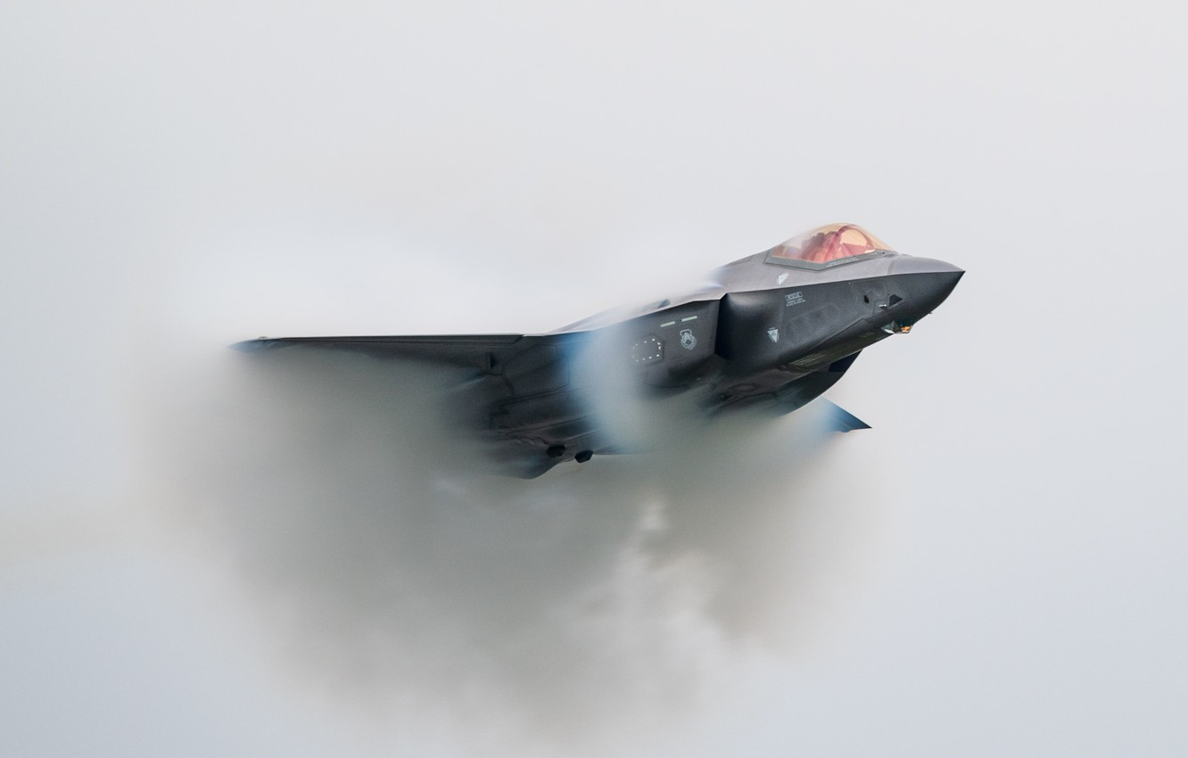 Photo wallpaper the sound barrier, UNITED STATES AIR FORCE, fighter-bomber, Lockheed Martin F-35 Lightning II