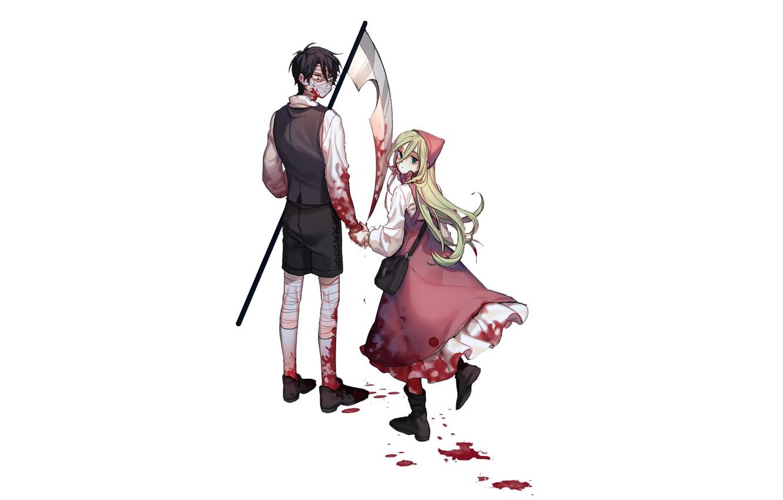 Photo wallpaper girl, blood, braid, guy, Angel bloodshed, Satsuriku no Tenshi