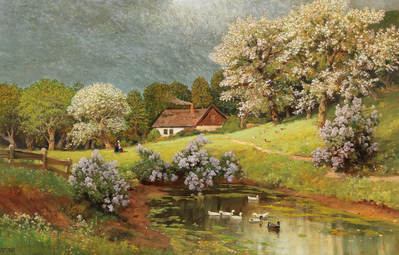 Photo wallpaper Alois Arnegger, Austrian painter, Austrian painter, oil on canvas, Alois Arnegger, Spring landscape with ducks, …