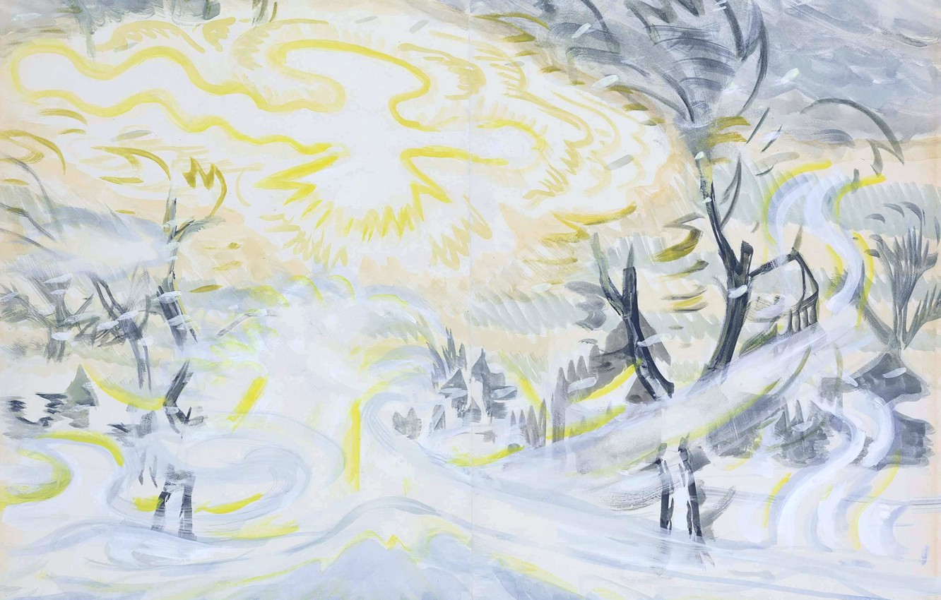 Photo wallpaper winter, bird, Sunny, Charles Ephraim Burchfield, Sun and Snowstorm