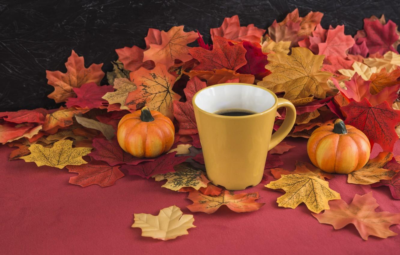 Photo wallpaper autumn, leaves, background, tree, coffee, colorful, harvest, mug, Cup, pumpkin, vintage, wood, background, autumn, leaves, …