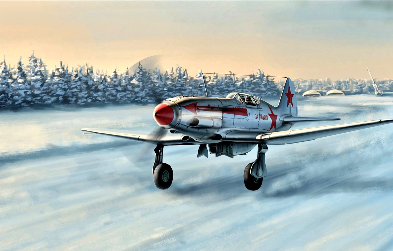 Photo wallpaper Winter, Snow, fighter, The rise, The MiG-3, Soviet, The second World war, high-altitude interceptor, Red ...