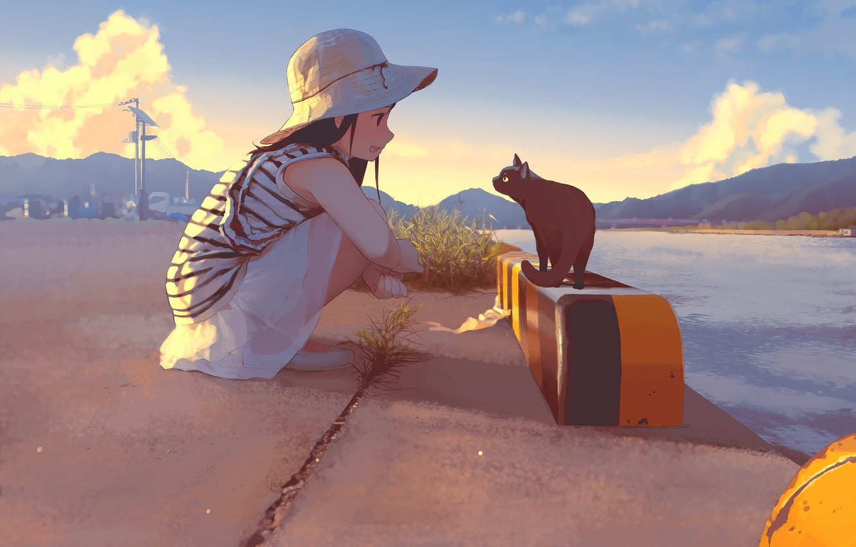 Photo wallpaper summer, river, hills, girl, promenade, Panama, art, pink clouds, black cat, squats, striped shirt, Morifumi