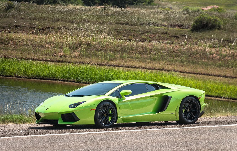 Photo wallpaper Lamborghini, Green, river, Aventador