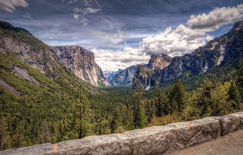 Photo wallpaper forest, mountains, photo, waterfall, CA, USA, Yosemite