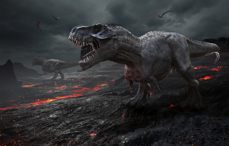 Photo wallpaper graphics, dinosaur, Tyrannosaurus