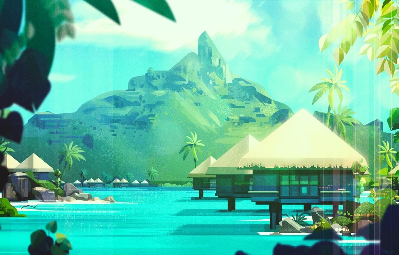 Photo wallpaper The ocean, Sea, Mountains, Island, Palma, House, Style, Palm trees, Houses, Architecture, Art, Art, Style, …