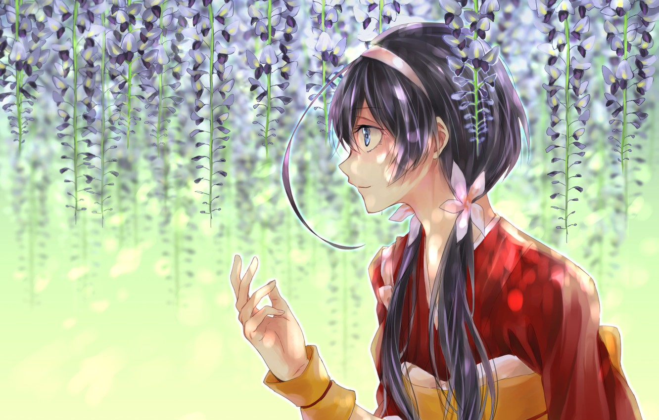 Photo wallpaper girl, flowers, Wisteria, Bungou Stray Dogs, Stray Dogs: A Literary Genius