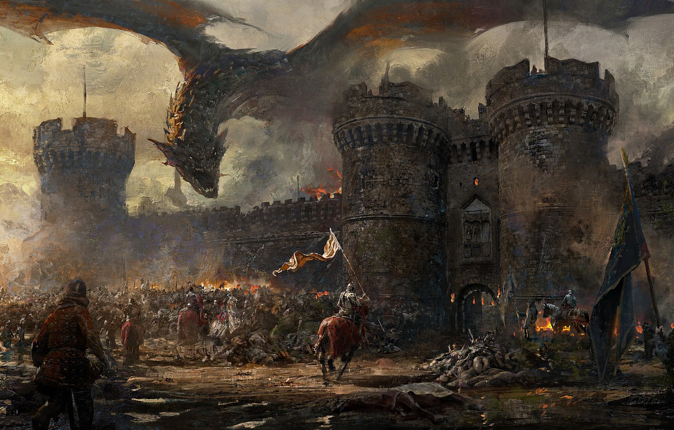 Photo wallpaper fire, wall, fantasy, Dragon, soldiers, armor, smoke, army, horse, castle, weapons, artwork, fantasy art, victories, …