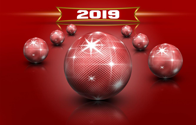 Photo wallpaper glare, red, balls, new year, Christmas, christmas, new year, фон background, tekstura, new year 2019, …