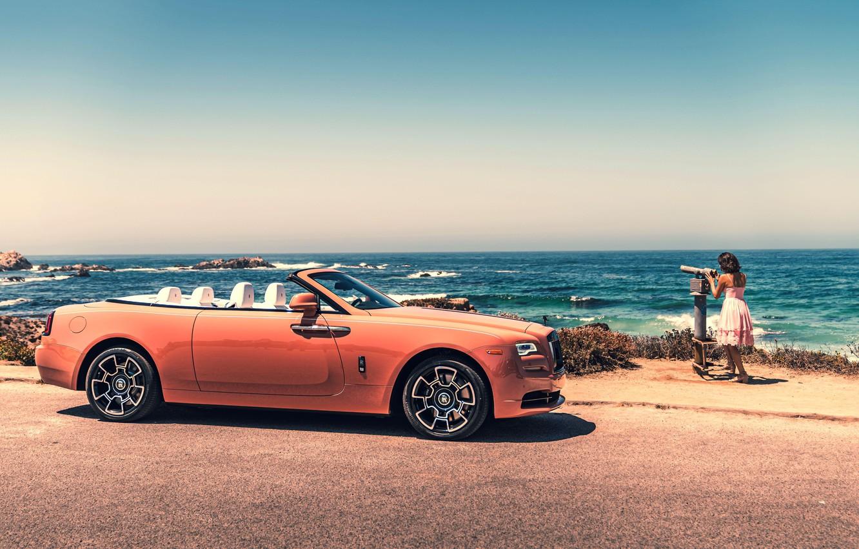 Photo wallpaper Girl, Orange, Luxury, Rolls-Royce Wraith
