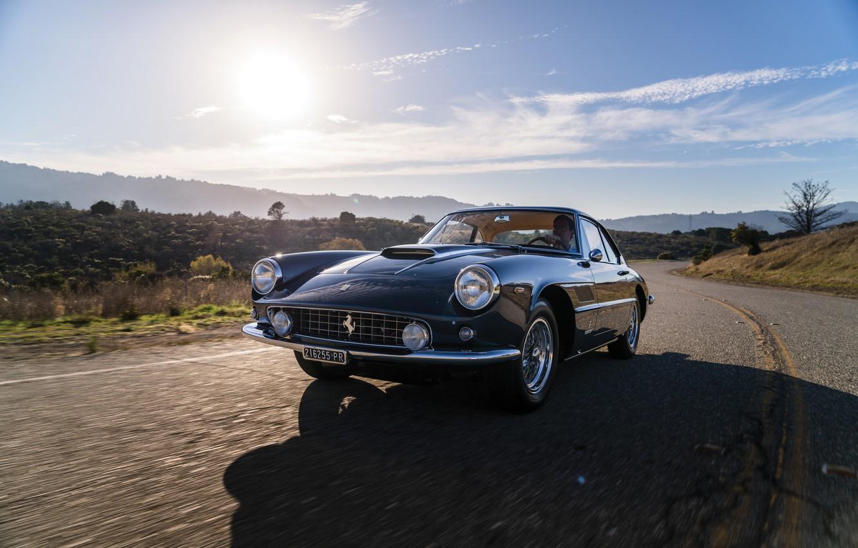 Photo wallpaper Road, Ferrari, Lights, Classic, Chrome, Classic car, Icon, Grille, Ferrari 400 Superamerica, The Short Wheelbase …