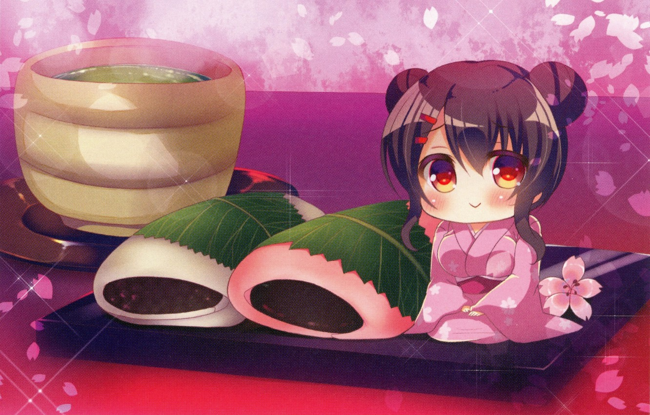 Photo wallpaper Japan, sweets, kimono, cherry blossoms, green tea, wagashi, vagasi, the actual, Lilia Chocolanne, by Rena …
