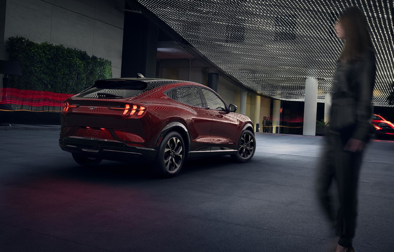Photo wallpaper Mustang, Ford, Ford, Mustang, 2020, electric crossover, electric SUV, Ford Mustang Mach-E SUV, sports coupe