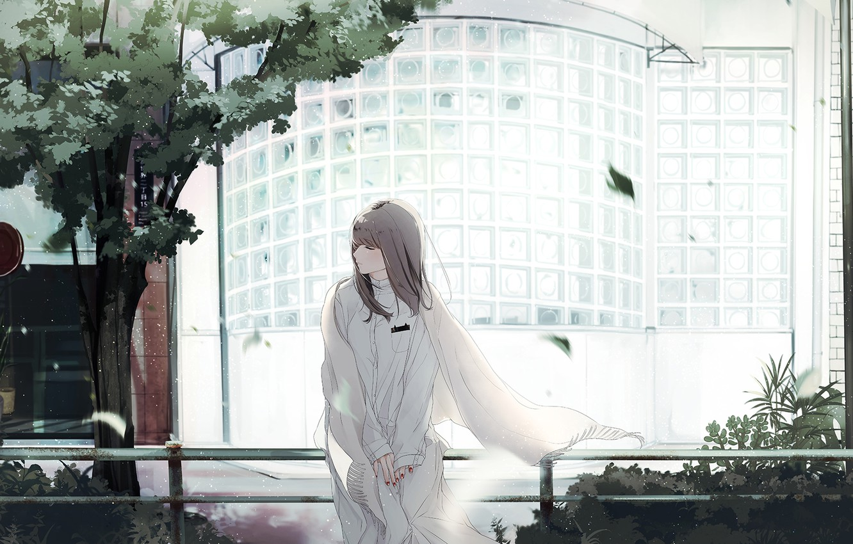 Photo wallpaper girl, tree, sitting